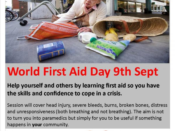Free First Aid Courses 9th September 2017