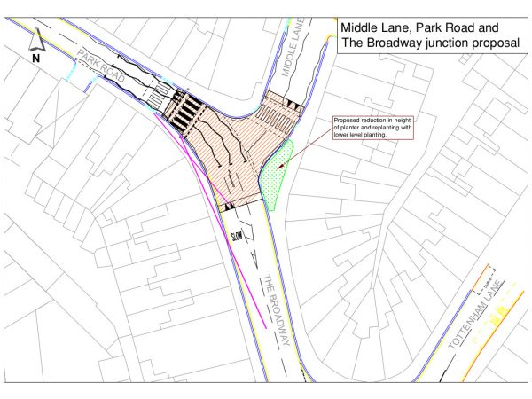 Middle Lane Proposals with Planter