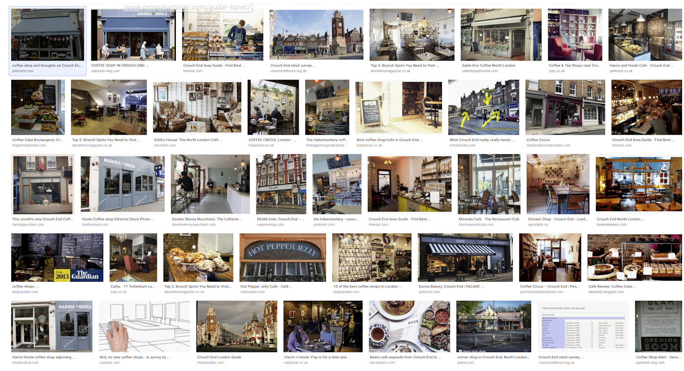 Pinterest page of Crouch End Coffee Shops